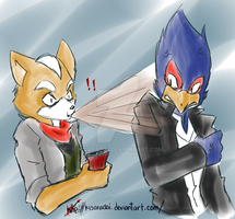 Fox_Falco_y un refresco XD by KisaraDai