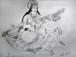 Saraswati (Goddess of Knowledge) by chitrakar15