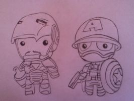 Chibi captain America and iron man :3 by lokitty-chan