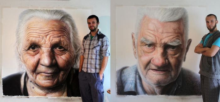 Mixed media portrait of my Grandparents by AtomiccircuS