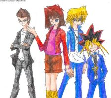 Yugi + Friends for MihoNosaka by SamCyberCat