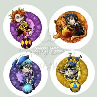 Black Butler Button Set by cursed-sight
