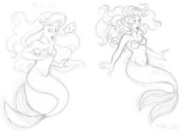Surprised Ariel n Flounder - sketch by Atrixfromice