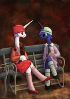 Two Mares on a Bench by Euphreana