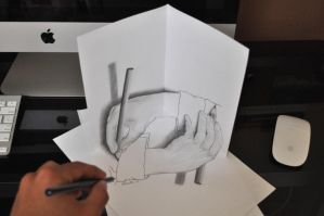 Drawing Escher's Drawing Hands by Aj3sh