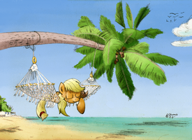 AJ at the beach (colored by Goat train) by Username-KH