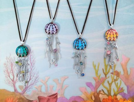 Sea Full of Jellyfish Pendants by HoneyCatJewelry