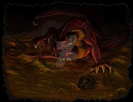 Smaug and the hobbit by Aerindarkwater