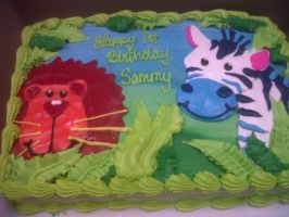 Jungle critters cake by AingelCakes