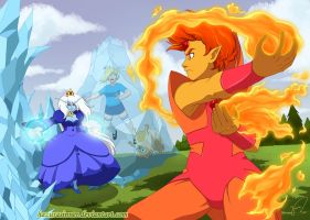 Flame Prince VS Ice Queen by HazuraSinner