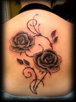 rose tattoo backpiece by WildThingsTattoo