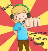 Happy 21,000,000 Pewdie! (Draw it again meme?) by pyohappy