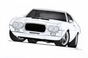 1972 Ford Torino Drawing by Vertualissimo