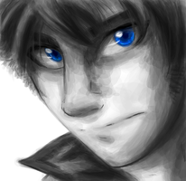 Eyes of a Deep Blue BW by KasaraWolf