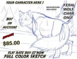 YCH Full Color Sketch Wolf Flat Rate Sale ! by lady-cybercat