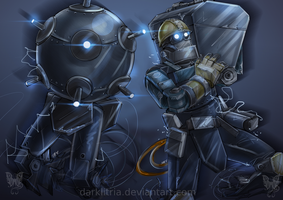 TF2: Sentry Buster and Mecha Engineer by DarkLitria