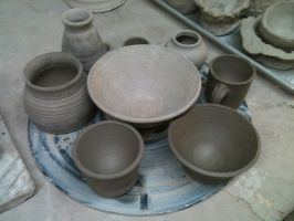 Pottery in Progress by Hoboweasel