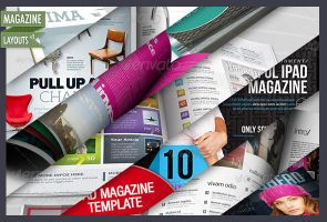 9 More Magazine Layouts for InDesign and Photoshop by CursiveQ-Designs