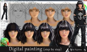 Digital painting (step by step) by Kajenna