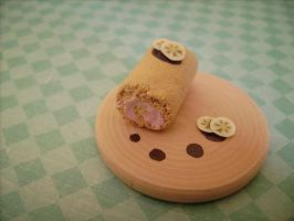 Cute polymer clay strawberry cake roll miniature by AliceCharms
