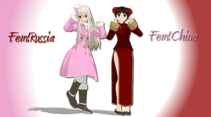 MMD Newcomers [Fem!China and Fem!Russia] by UtaCasabee