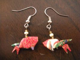 Origami Goldfish Earrings by squeejie
