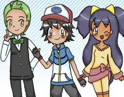 Pokemon Ash Iris and Cilan by poigo