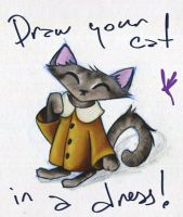 Draw your cat in a dress day! by Imzel-Amalizh