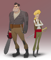 Ben and Guybrush by mendigo-amigo