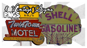 8 Vintage Signs PNG'S by reecito