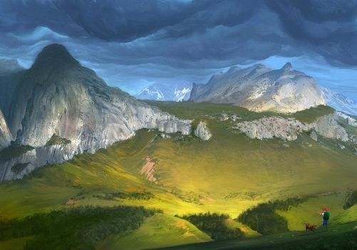 The Boy and His Dog: Mountain Valley View by RobertCopu