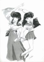 Kagome and Kikyo by Rose-sary