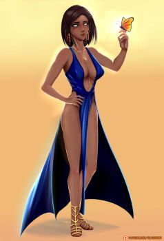 Pharah Blue Dress - FanArt by SD-HexWing