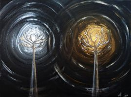 The Two Trees of Valinor - Telperion and Laurelin by Rearda