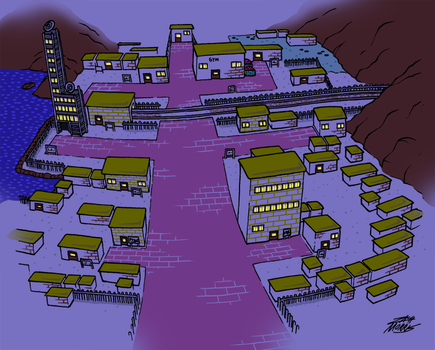 Goldenrod City (Night) by WillDrawForFood1