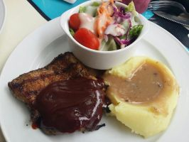 Grilled Chicken with Mash and Salad by nosugarjustanger