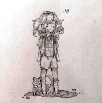 Oc with cat by little-orange-fish