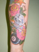 Lucky and skull sleeve by Inkcastle