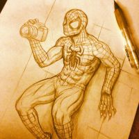 Spiderman Sketch comish WIP by Bourrouet