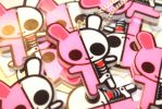 X-Ray bunny acrylic charms by SprinkleChick