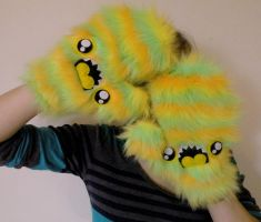 Sherbert Monster Mittens by loveandasandwich
