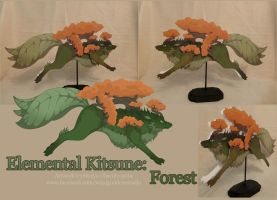 Elemental Kitsune: Forest by StrayaObscura
