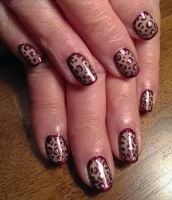 20150103 - Tan and Plum Leopard with Gold by m-everhamnails