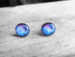Handmade Resin Blue and Pink Nebula Stud Earrings by crystaland