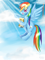 Rainbowdash with Cider (happy May Day) by FushigiOoka