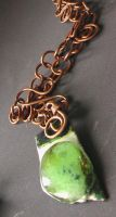 Green-eyed Enamel+Glass on Red-Copper by Barah-Art