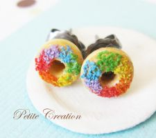 rainbow donut earrings2 by PetiteCreation