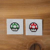 Super Mario Bros. 3 mushrooms by flavialee