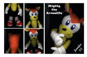 Mighty the Armadillo Plushie by chibi-jen-hen