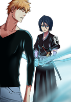 Rukia and Ichigo by Plaitum